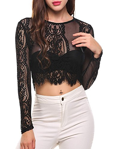 1d1c35ba6b436 SoTeer Women s Fashion Slim Fit Lace Long Sleeve Short Sleeve Sexy Sheer  Blouse Mesh Lace