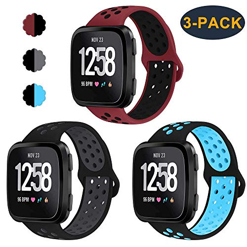 CAVN 3-Pack Bands Compatible with Fitbit Versa Smartwtach for Men Women, Sweat Resistant Replacement Accessory Strap Bracelet (S/5.5-6.8, Red/Black+Black/Grey+Black/Blue)