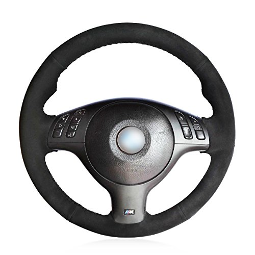 (MEWANT Customized Black Suede Car Steering Wheel Cover for BMW E46 E39 330i 540i 525i 530i 330Ci M3 2001-2003)