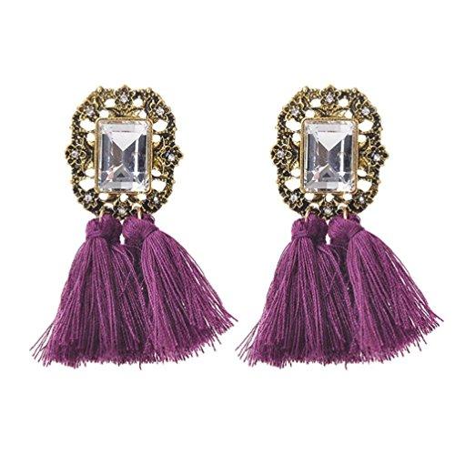 Tassel Earrings,ManxiVoo Bohemian Rhinestones Tassel Dangle Earrings Hook Stud Ear Drop Jewelry (Purple)