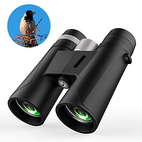 Binoculars for Adults, Compact HD Binocular BAK4 Roof Prism 12×42 for Bird Watching Low Light Night Vision High Powered Waterproof Fogproof for Hunting Camping Wildlife Sport View Concerts Best Rated