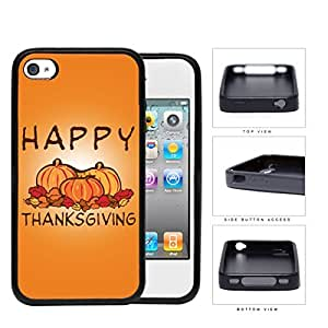 Happy Thanksgiving Pumpkin Display Rubber Silicone TPU Cell Phone Case Apple iPhone 4 4s