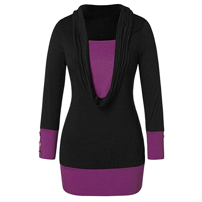 9b1fb376675e25 Riou Damen Mode Patchwor Pulli Casual Elegant Bluse Langarm Pullover Tops
