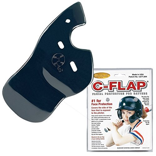 Baseball C-Flap Batter's Helmet Face Protection Guard Attachment (5 Colors for Left & Right Handed Hitters) (Navy, Left Handed Hitter) (Best Right Handed Hitters)
