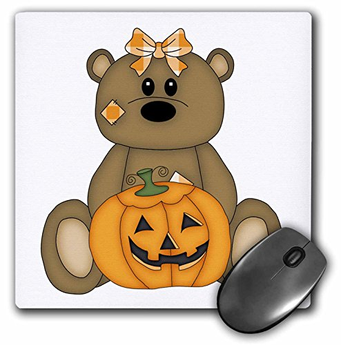 3dRose Anne Marie Baugh - Halloween - Cute Little Girl Bear with Plaid Bow and Carved Pumpkin - Mousepad (mp_216875_1)