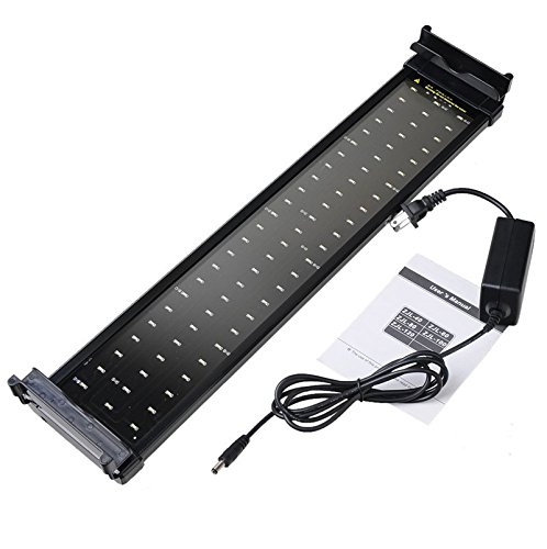 Corner Biz Aquarium - Fish Tank Aquarium LED Lighting 50CM-68CM Extendable Frame Lamp SMD 72 Leds 11W White + Blue 2 modes US Power Plug Adapter