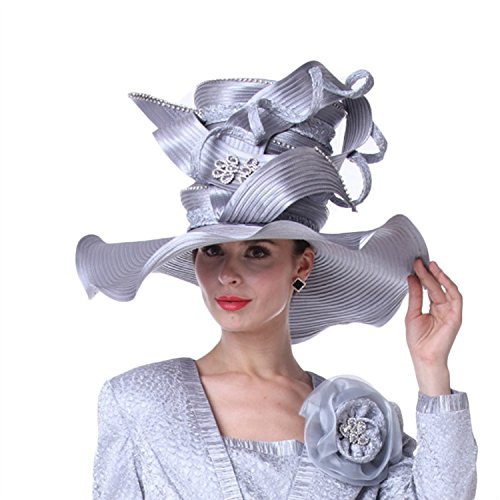 Kueeni Women Hats Church Hats For Wedding Mother Of Bride Hats Silver by Kueeni