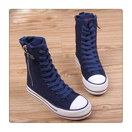 182d5d22e3096 HCHBE& 2018 New Spring Autumn high top Platform Girl's Canvas Shoes Zipper  Fashion Women Casual Shoes Female Leisure Shoes Sneakers Color 2 6
