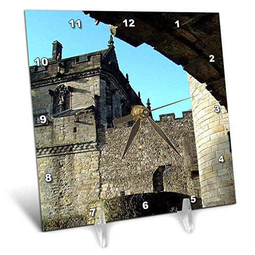 3dRose Jos Fauxtographee- Scotland Castle - The Stirling Castle in Scotland with The Walls Shot up Close - 6x6 Desk Clock (dc_308234_1) ()