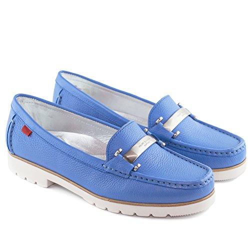 Vera Pelle Da Donna Realizzata In Brasile Tribeca Fibbia Mocassino Marc Joseph Ny Fashion Shoes Celeste Granuloso
