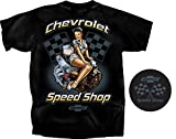 Gildan Men's Chevrolet Speed Shop Pin-up Girl T-Shirt, XXX-Large, Black