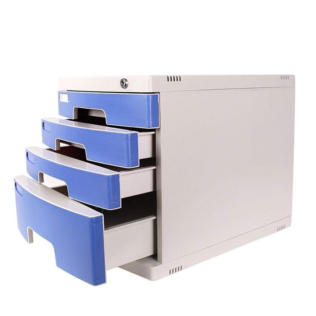 Filing Cabinet 4-Layers Lockable File Cabinet Desktop Data Storage Drawer Flat File Cabinets Home Office Document Storage Box