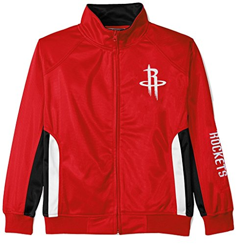 VF Houston Rockets NBA Majestic Boys Full Zip Tricot Track Jacket Red Youth Sizes (XL)