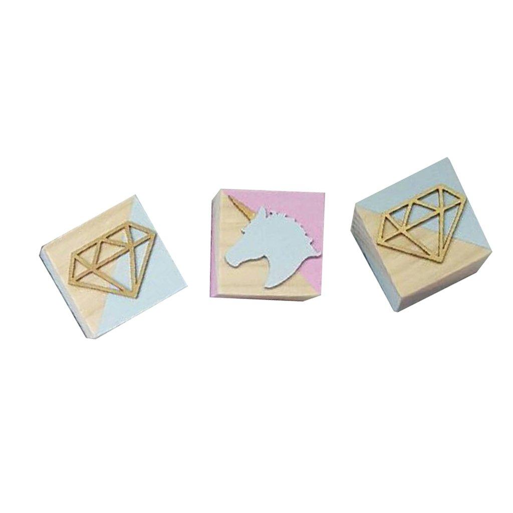 baoblaze木製クラフトブロック木製キューブ60 mm HARDWOODクラフトキッズ子再生ペット玩具ウェディングデコレーションFavoursユニコーン   B07FMQQFKK