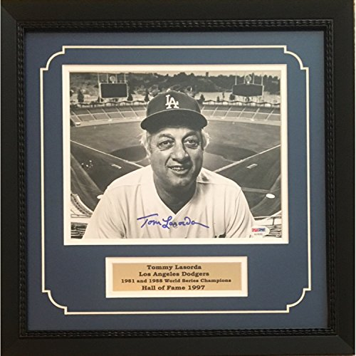 Tommy Lasorda Autographed Los Angeles Dodgers World Series Signed 8x10 Baseball Framed Photo PSA DNA COA ()