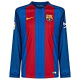 Nike Men's Barcelona Home Long Sleeve Soccer Jersey 2016/2017 (Blue, Red) Medium