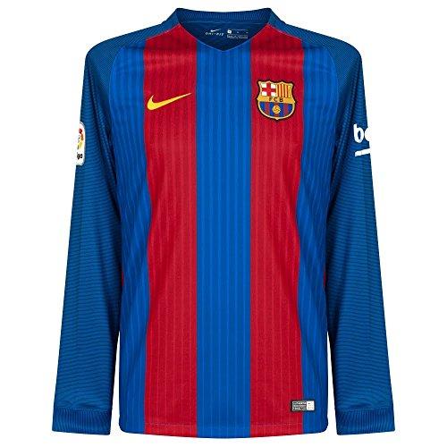 Nike Men's Barcelona Home Long Sleeve Soccer Jersey 2016/2017 (Blue, Red) (Home Long Sleeve Replica Jersey)
