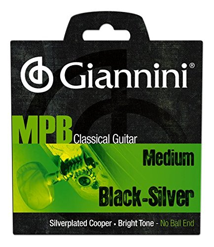 Giannini GENWBS MPB Brazilian Jazz Series Classical Guitar Silver Plated Copper/Black Nylon Strings