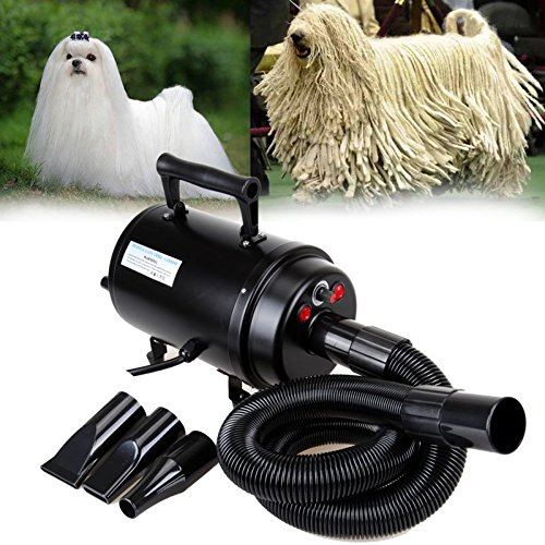 Ambienceo Portable 2800W Dog Cat Hair Dryer Blower Heater Blaster Pet Grooming Hairdryer Speed Temperature Adjustable with 3 PCS Interchangeable Nozzles