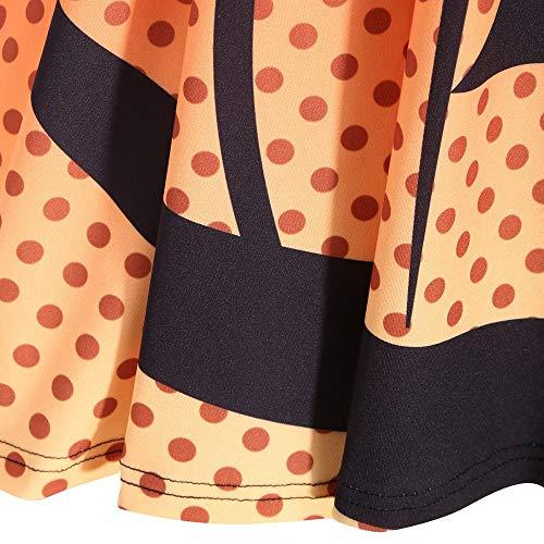 sciolto Halloween zucca donna quarti lunghe arancione stampa partito Decorazione Costume maniche Angelof abiti tre wX0dqaq