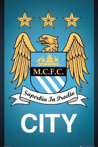 Manchester City Crest Maxi Poster - Manchester Bedroom Furniture