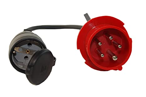 5 Polig CEE Adapter 16A Stecker Starkstrom Auf 230V Schuko Kupplung 3x2,5mm² TOP