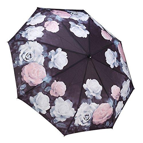 Galleria Folding Umbrella - Galleria Pink Vintage Roses Auto-Open/Close Extra Large Rain Folding Umbrella