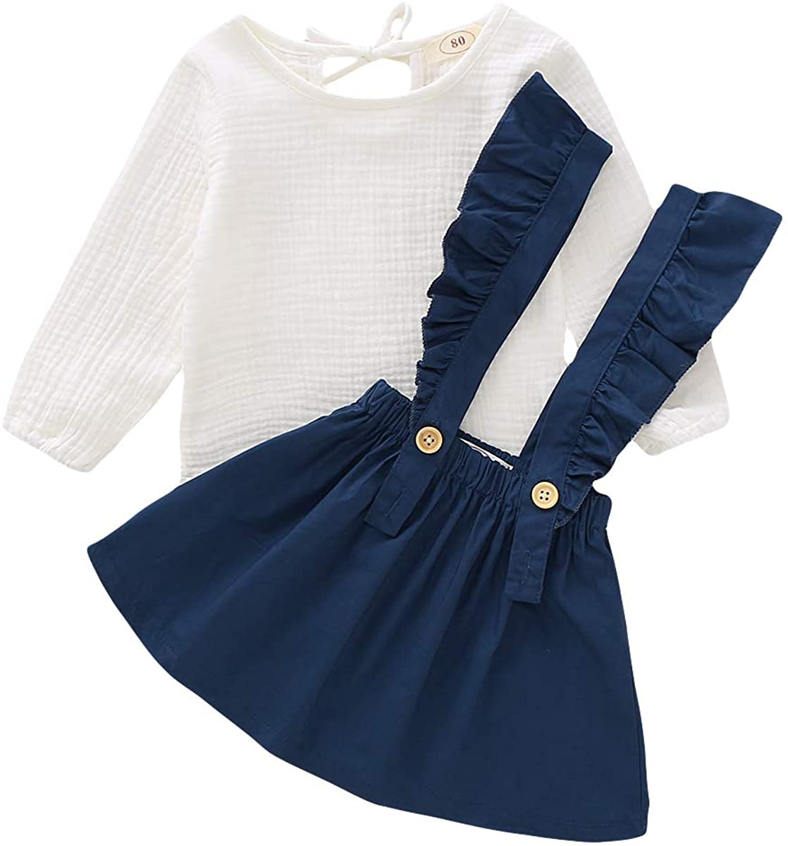 DaMohony Baby Girl Skirt Outfit Girls Clothing Set Cotton /& Linen Long Sleeve Tops Ruffle Suspender Skirt 2Pcs Toddler Outfits for Girls