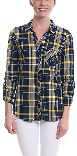 Pier 17 Plaid Shirts For Women by Collared Button Down Long Sleeve Shirt With Stretch - Semi Fitted - Roll Up Sleeves - Chest Pocket - Lightweight and Soft Materials (Large, Navy-Yellow-White) (Navy Plaid Flannel)