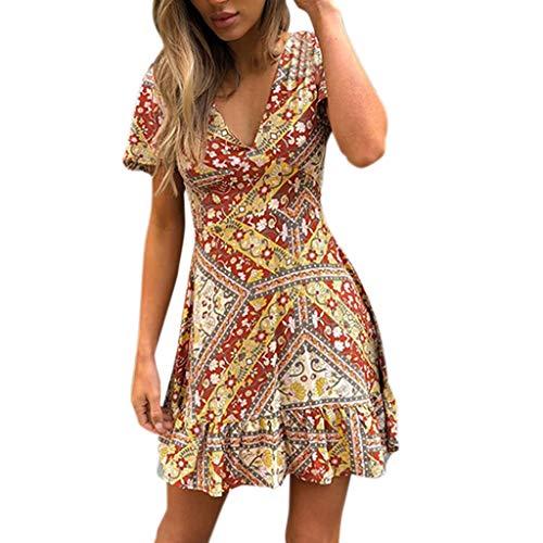 (〓COOlCCI〓Women's Summer Wrap V Neck Bohemian Floral Print Ruffle Swing A Line Beach Mini Dress Beach Party Midi Dress Yellow)