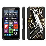 Mobiflare Armor Kick Flip Grip Case for [Microsoft Nokia Lumia 640 XL] - Punisher Hand Gun