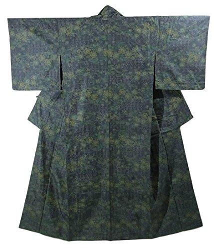 リサイクル 着物 ひとえ 紬 正絹 装飾文様 花模様 裄64.5cm 身丈156cm