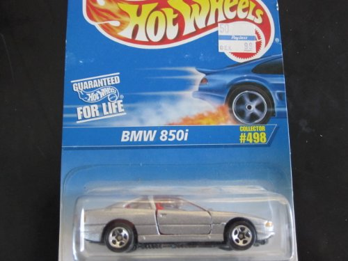 Hot Wheels Blue Card - BMW 850i (Silver W/5 Spoke Wheels) Hot Wheels Collector #498 on Blue&white Card
