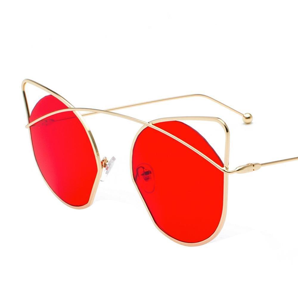 Aoligei Redondo de metal de orejas de personalidad gato gafas gato gafas de sol de marco gafas de sol Señora Estrella