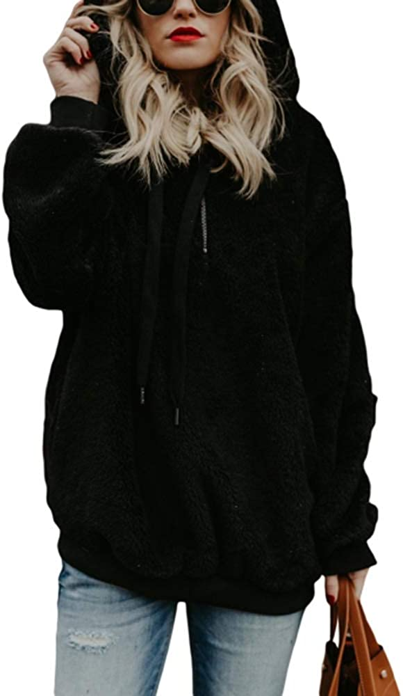 Yobecho Womens Long Sleeve Half Zip Fuzzy Fleece Pullover Jacket Outwear Sweatshirt Tops Coat with Pocket