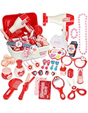 Pretend Makeup Sets for Girls, Role Play Toy Box Play Jewellery Cosmetics Kits Princess Dress Up Hairdressing Set with Portable Case Gifts for 3 Year Olds Girls(28PCS)