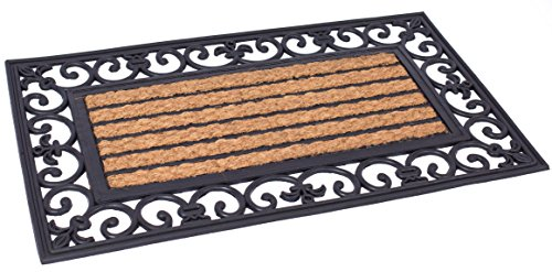 BIRDROCK HOME 18 x 30 Rectangular Natural Coir and Rubber Doormat with Scroll Border | Natural Fibers | Outdoor Doormat | Keeps Your Floors Clean | Decorative Design | Non Brush Coir