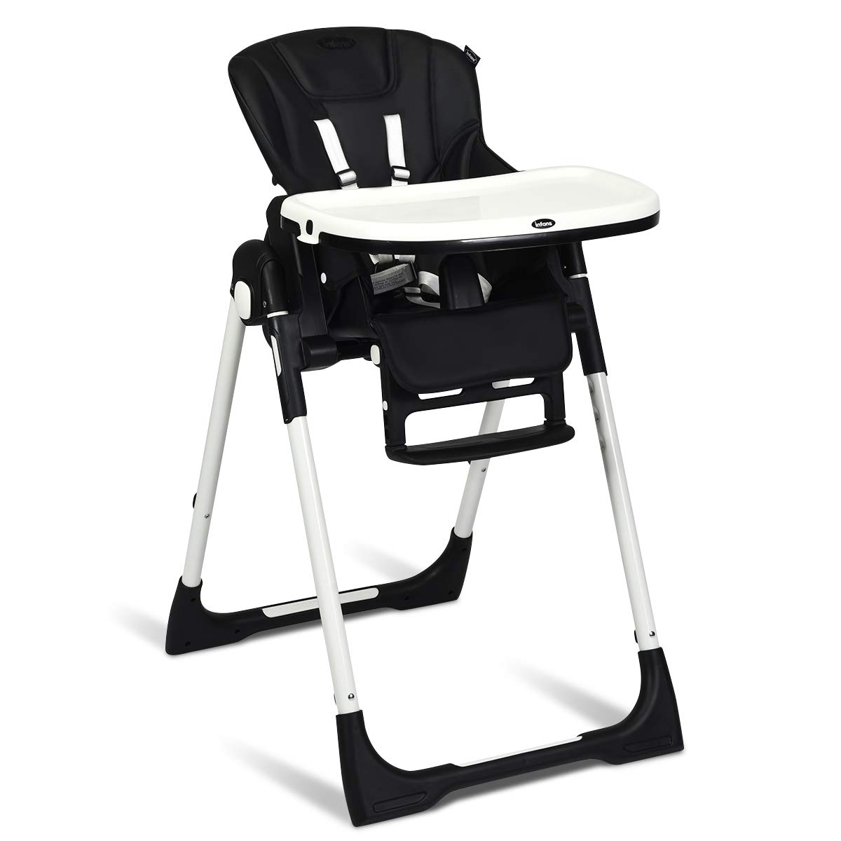 INFANS High Chair for Babies & Toddlers, Foldable Highchair with Multiple Adjustable Backrest, Footrest and Seat Height, Removable Tray, Detachable PU Leather Cushion, Built-in Rear Wheels (Black) by INFANS