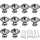 kitchen cabinet knobs crystal - HOSL 10PCS Diamond Shape Crystal Glass Cabinet Knob Cupboard Drawer Pull Handle/Great for Cupboard, Kitchen and Bathroom Cabinets, Shutters, etc (30MM)