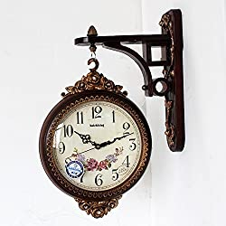 SSBY Tuba mute creative clocks hanging double sided wall clock the living room vintage retro clock two resin clock clock,C
