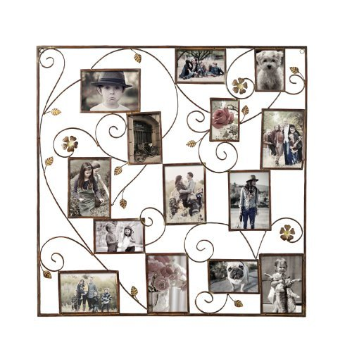 Adeco PF0525 14 Openings Bronze Iron Filigree Wall Hanging Collage Picture Photo Frame-Made to Display Five 3.5x5, Nine 4x6, Various -