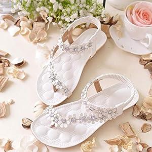 Tenworld Women Summer Bohemia Flat Sandals Flower Beads Beach Flip-flop Shoes (5.5, White)