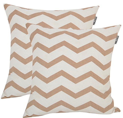 Accent Home Square Printed Cotton Cushion Cover,Throw Pillow Case, Slipover Pillowslip for Home Sofa Couch Chair Back Seat,2pc Pack 18×18 in Chevron – Moon Light Colour
