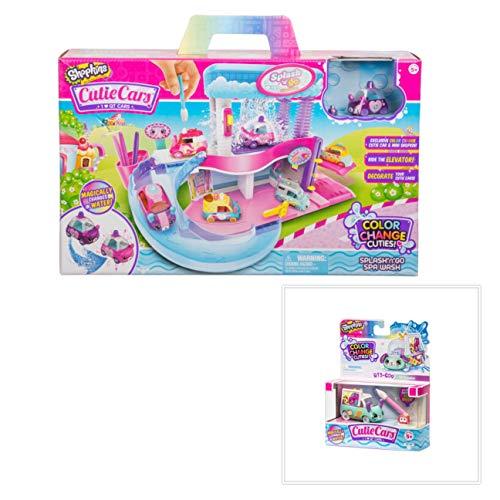 Shopkins Cutie Cars Spa Wash Playset and Color Change Cutie Car QT3-C09 TV Traveler