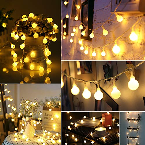 Inside String - GREEMPIRE String Lights Outdoor Globe String Lights with Remote Control, 100 LED Patio Lights Waterproof for Christmas Tree Party Patio Garden Wedding Decoration, 44 Ft, 8 Lighting Modes, Warm White
