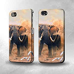 Apple iPhone 5 / 5S Case - The Best 3D Full Wrap iPhone Case - Dusty Elephant Egrets by icecream design