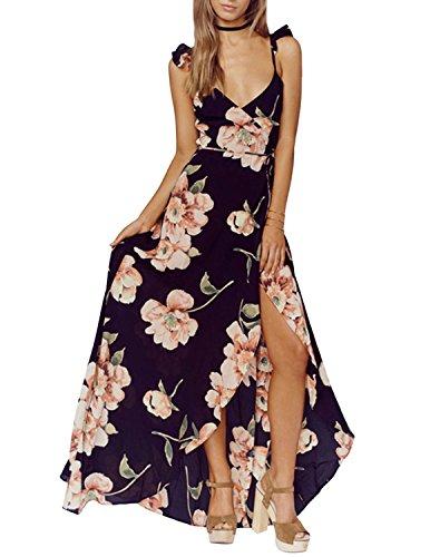Richlulu Womens Elegant Floral Print High Split Flowy Backless Maxi Cocktail Dress(X-Large, Floral) ()