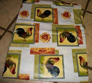 Rooster and Sunflower Design 52 x 70 Tablecloth with backing
