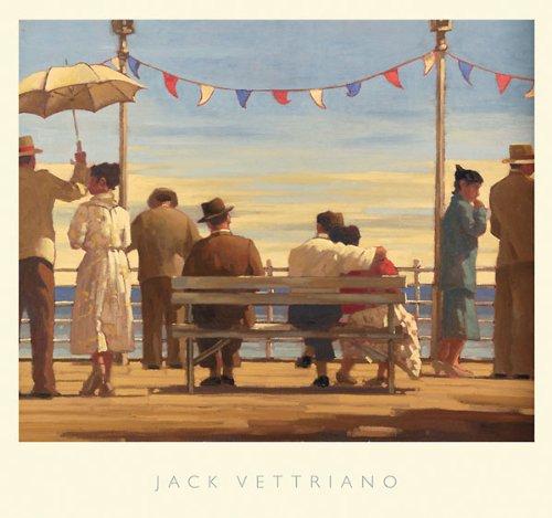 (The Pier Jack Vettriano Dance Romance Vintage Umbrellas Print Poster 28.5x26.5)