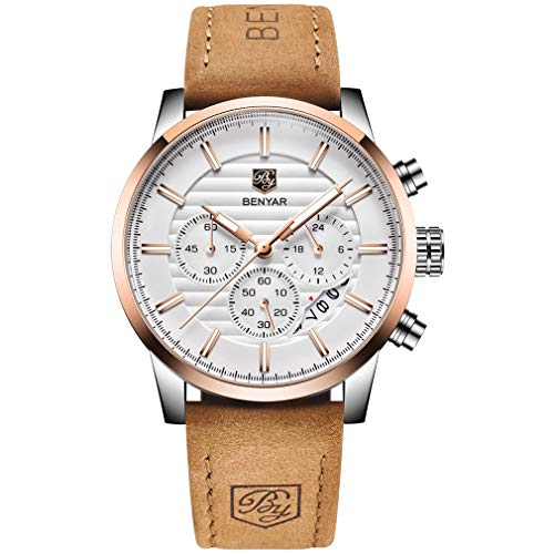 BENYAR Quartz Chronograph Waterproof Watches Business and Sport Design Leather Band Strap Wrist Watch for Men (Brown White)
